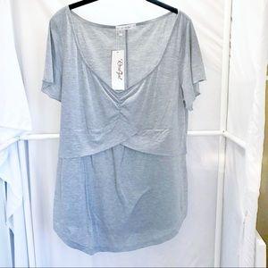 NWT Rosegal Grey V-Neck Layered Short Sleeve Top